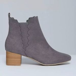 Lane Bryant Grey Scalloped Ankle Booties Size 10W